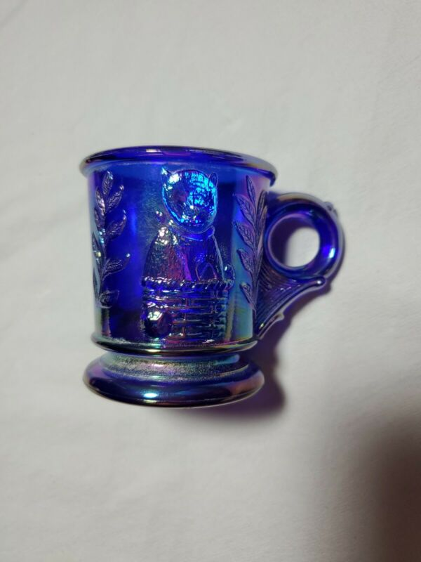 Vintage Blue Rainbow Carnival Glass Baby Childs Cup Mug Puppy Kitten Grape Leaf