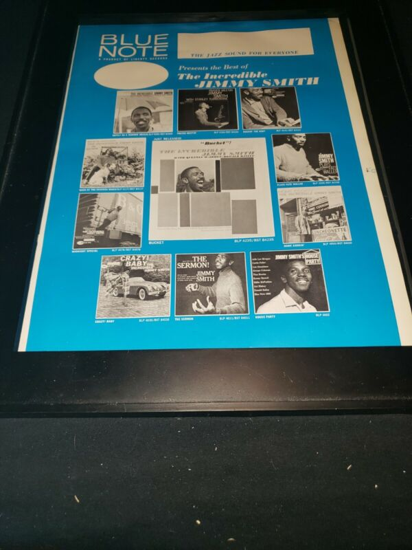 Jimmy Smith Rare Original Blue Note Records Promo Poster Ad Framed!