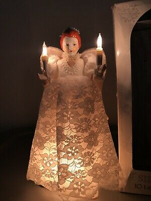 Vintage Silvestri Christmas Angel Tree Topper 10 Lights & Porcelain Head in box