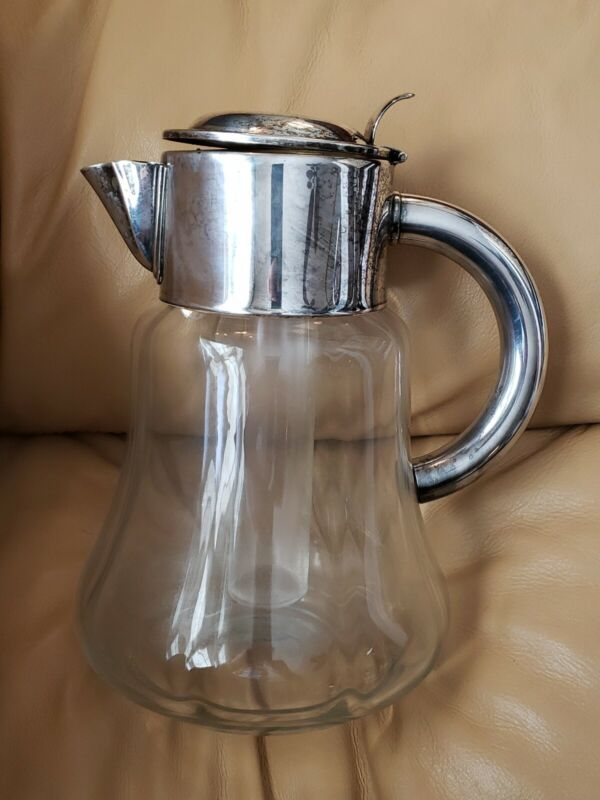 Vintage Glass Water Pitcher w/ Ice Insert Silverplate Top Germany US Zone