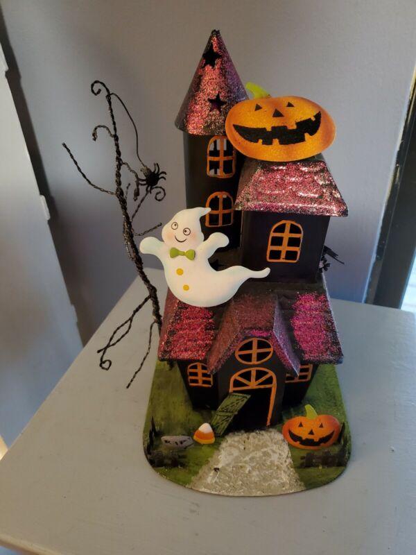 Halloween Metal Haunted House Pumpkin Candle Holder Tea Light Table Decor Ghost