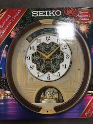 New 2019 Seiko Melodies in Motion Wall Clock W/ Swarovski Crystals QXM382BRH