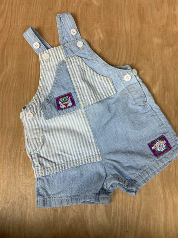 Vintage 90s Little Levis Baby Overalls Made In Usa Denim blue Stripes