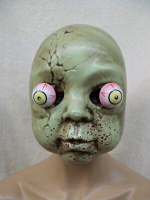 Creepy Doll Face Mask Googly Bulging Eyes Bloody Zombie Haunted Cracked Dolly](Creepy Face Mask)