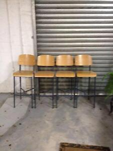 4 WOODEN & METAL COMFY STRONG STOOLS WITH BACKS Albert Park Port Phillip Preview