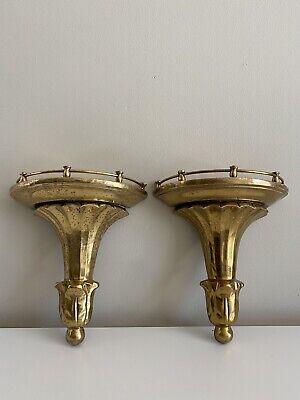 "Vtg Pair Heavy Cast Brass Art Deco Wall Sconce Shelf Shelves Column Style 11"""