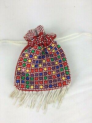 Vintage Girls Toy Beaded Drawstring Bag