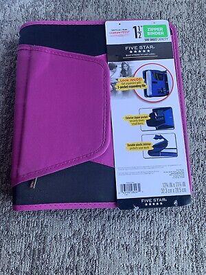 Five Star Zipper Binder 1.5 500 Sheet Zipper Pocket Durable Interior Purple