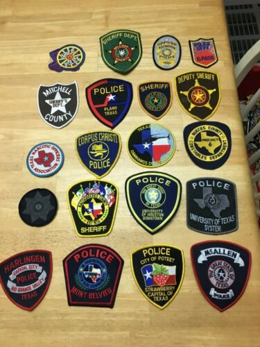 NICE LOT OF 20 TEXAS POLICE  SHOULDER PATCHES  TX06