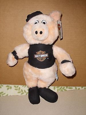 Harley Davidson Motorcycle Biker Pig Plush Stuffed Animal 1991 TAGS 12''