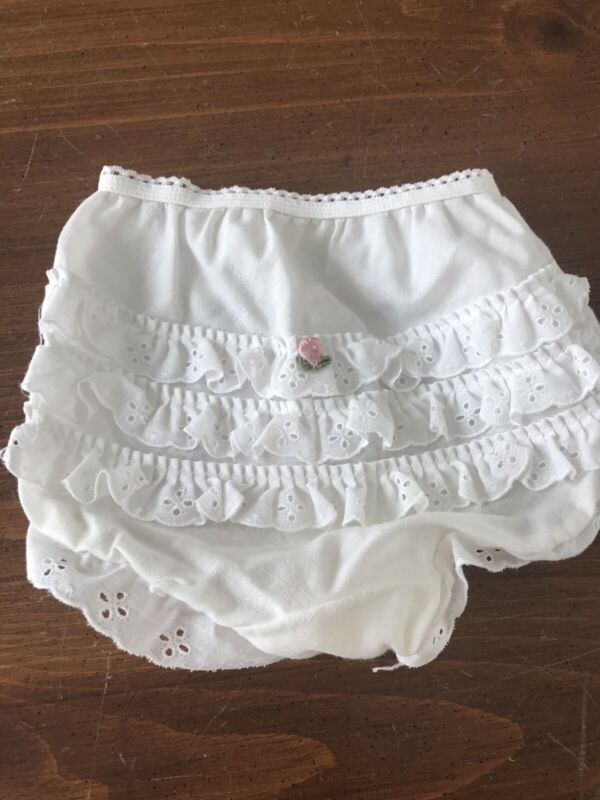 Vintage Baby Girls Her Majesty White Floral Ruffle Lace Panties Bloomers 18 Mo