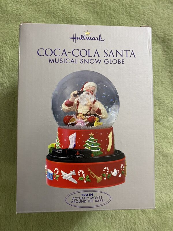 Hallmark Christmas Coca-Cola Santa Musical Snow Globe Moving Train 2001 NIB Coke