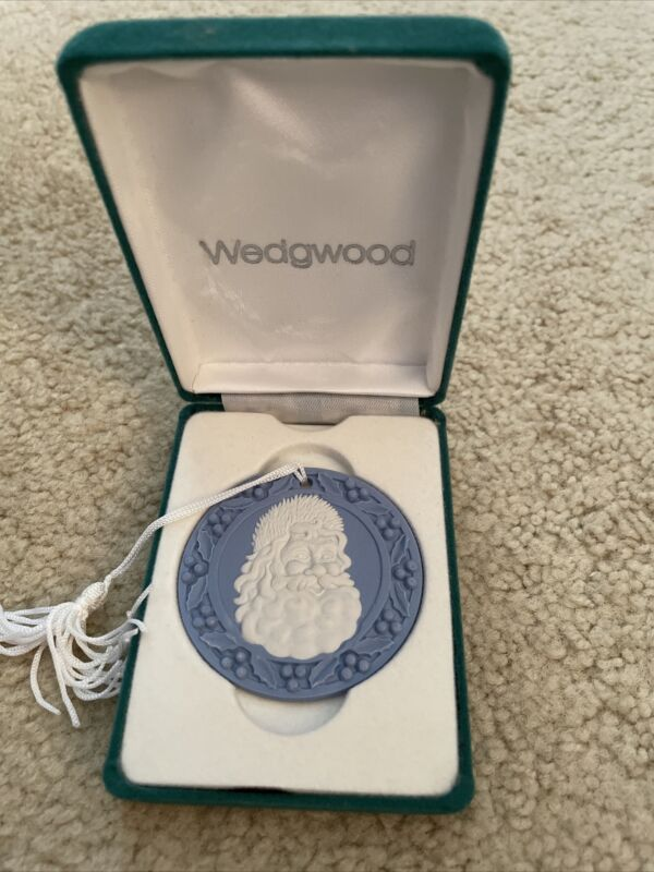 Wedgwood Jasperware Christmas Ornament, Santa Face, 1990, In Box