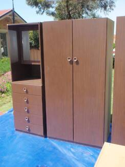 1 Two Piece Dark Brown Wardrobe/Drawers with Mirrored cabinet. Redcliffe Belmont Area Preview