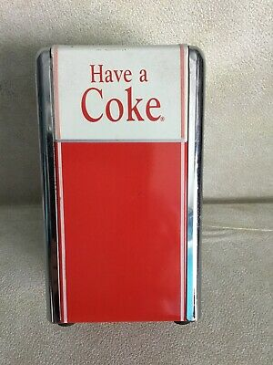 Coca Cola Have A Coke Napkin Holder Dispenser Metal Chrome 50's Diner Style 1992