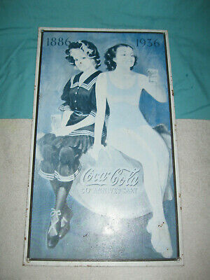 Vintage Coca Cola Metal 1886-1936 50th Anniversary Sign