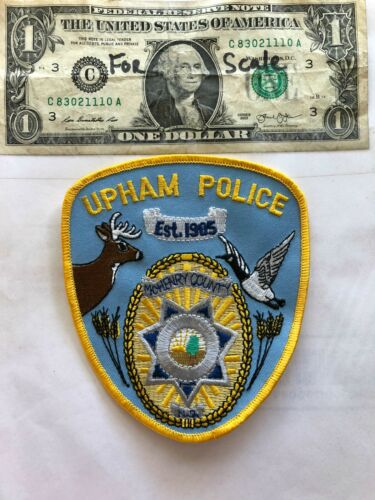 Rarer Upham North Dakota Police Patch un-sewn in great shape