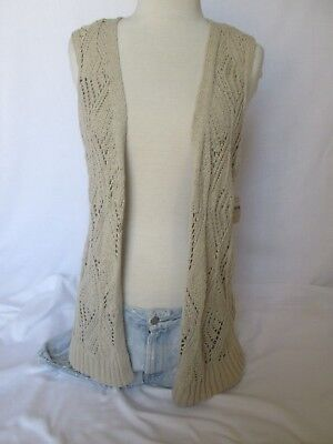 Beige Stitch (COLDWATER CREEK BEIGE LATTICE STITCH VEST M BOHO CHIC)