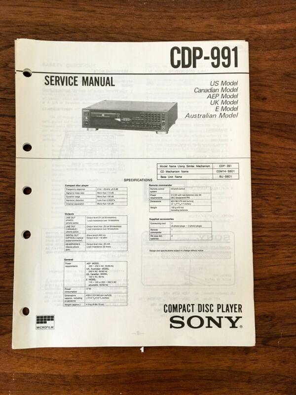 Sony CDP-991  Service Manual *Original*