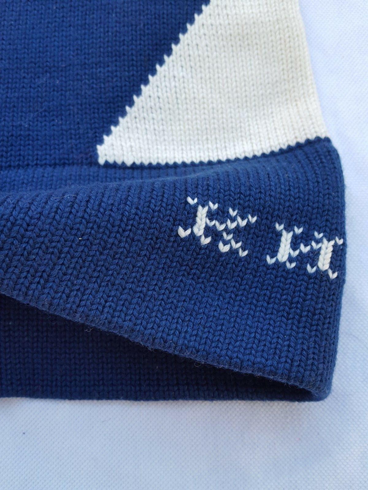Bonnet de ski kheb bleu blanc rouge vintage  beanie hat cap ski surf snow casual