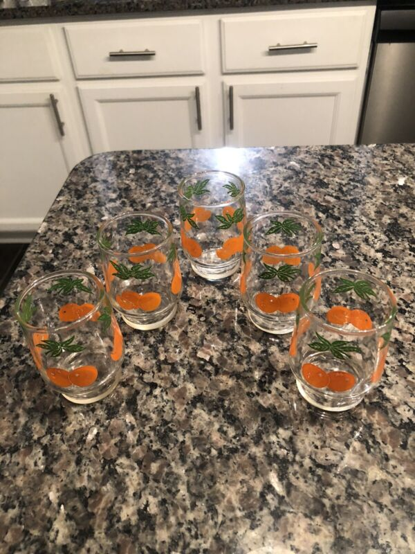 5 Anchor Hocking Juice Glasses/Orange Juice Glasses/OJ Glasses/Vintage