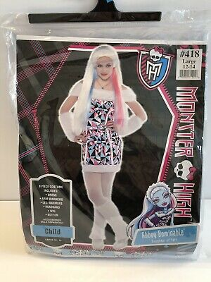 Monster High Abbey Bominable Girls Costume Large 12-14  Halloween Outfit w/ - Monster High Abbey Wig