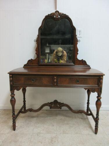 Antique Walnut Depression Ladies Vanity Desk & Carved Mirror  Makeup Table