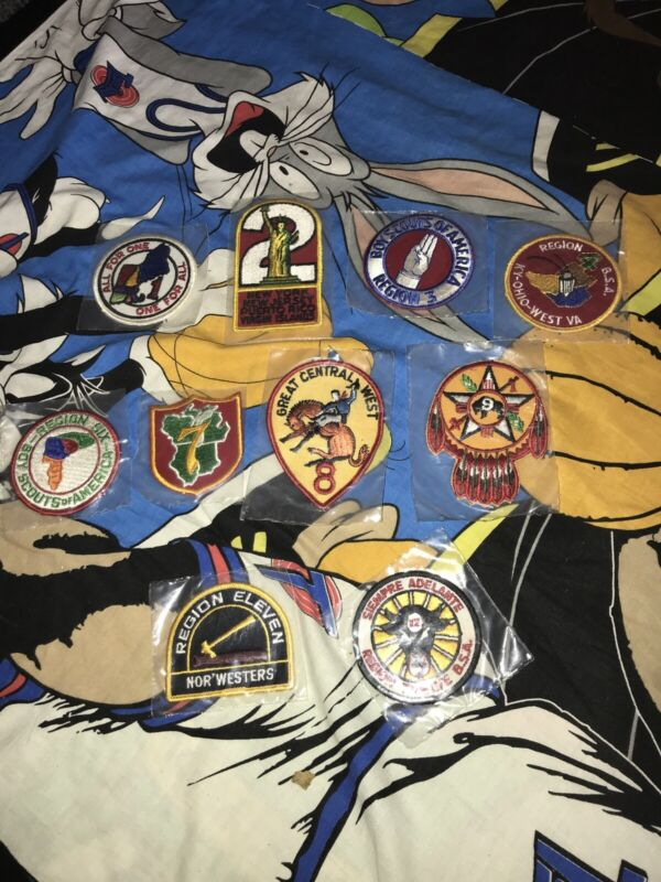 Vtg LOT OF 12 REGION PATCHES BSA Boy Scouts 1-12 National Office