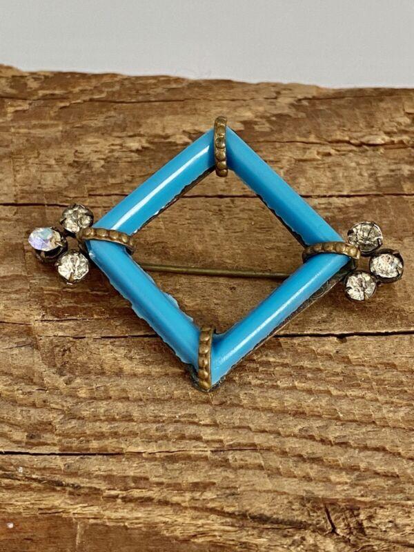 Vintage ART DECO ERA Pin Brooch Molded Blue Glass Diamond Motif RHINESTONES