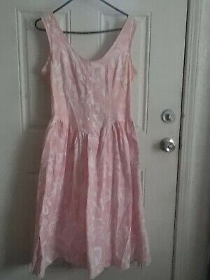 Pink Tea Party Dress (Vtg 80s Pink Floral Cotton Open Back BOW Boho Garden Tea Party Dress sz)