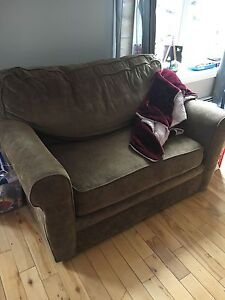 """CONDITIONALLY SOLD Brown Fabric Loveseat """"hide a bed"""""""
