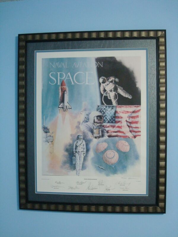 NEIL ARMSTRONG JOHN GLENN and Other Astronauts Signed Space Lithograph with COA