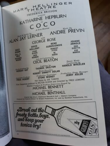 Coco Play With Katherine Hepburn Playbill 1970 Hellinger Theater - $15.00
