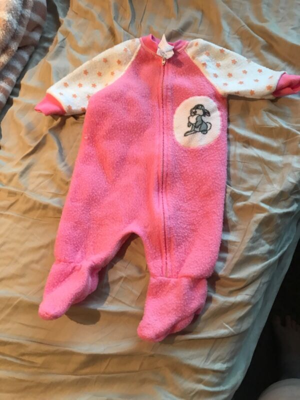 Disney Vintage 1980s Baby One Piece Footed Pajamas Thumper Bambi 0-6 Months