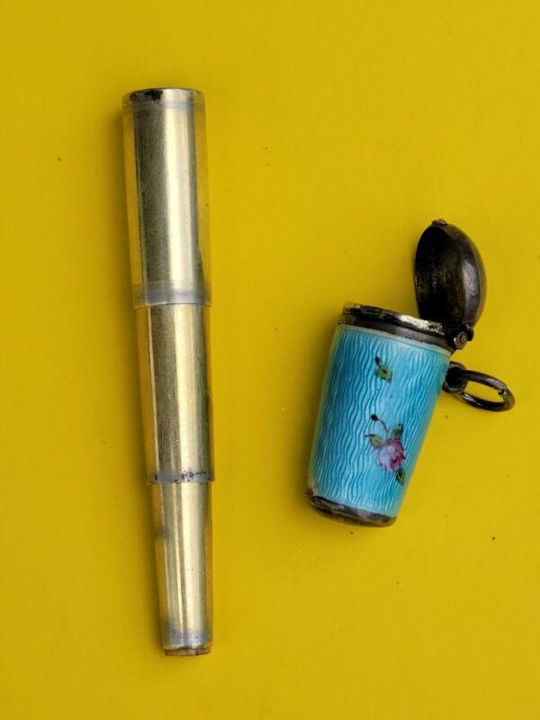 Antique Sterling Guilloche Enamel Box W Collapsible Cigarette Holder Inside