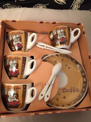 Holiday Special CIB 4 cup Espresso Set with 4 saucers and 4 spoons