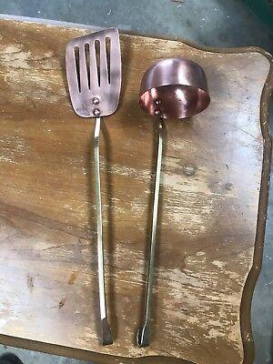 Bronze Soup Ladle And Spatula Set Vintage Costume Old Big Spoon