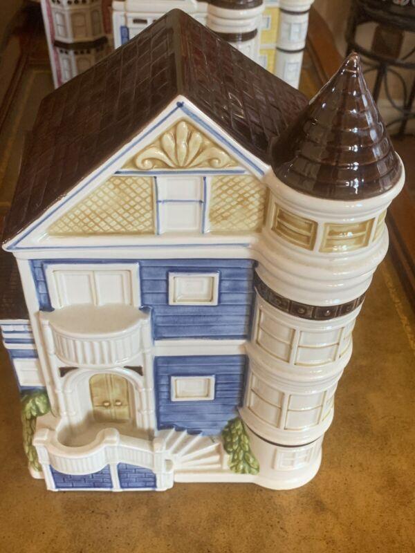"""Vintage Otagiri 1980 Large 11x8x6"""" Biscuit Box Cookie Jar Victorian House Japan"""