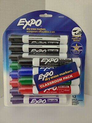 New Expo Dry Erase Markers Low Odor Chisel Tip Classroom Pack 12 Count