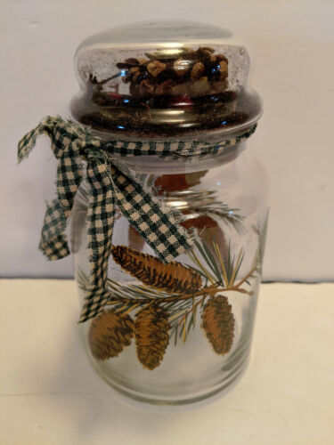 Libbey Pine Cone Glass Canister Storage Jar Pinecones