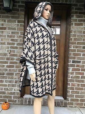 NWT ZARA PONCHO WITH HOOD HOUNDSTOOTH CARDIGAN CAPE COAT BLACK/SAND Ref.6873/133](Black Cape With Hood)