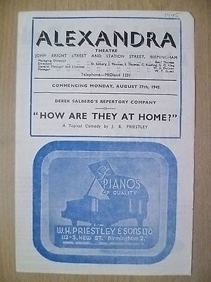 Alexandra Theatre Programme 1945- HOW ARE THEY AT HOME? by J B Priestley
