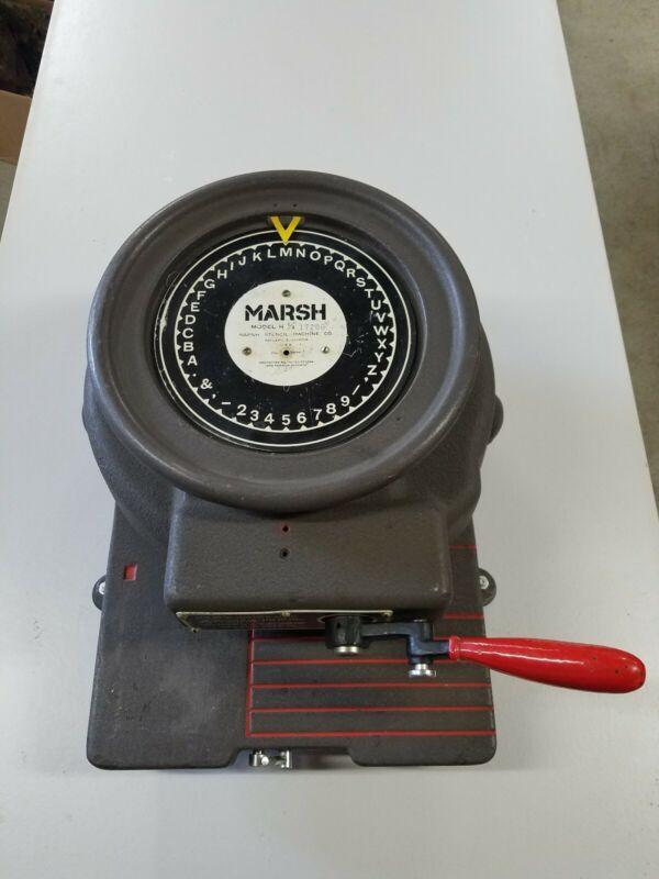 "Marsh Stencil Machine Model H, 1/2""  6 Line Stencil Cutter Fully Functional"