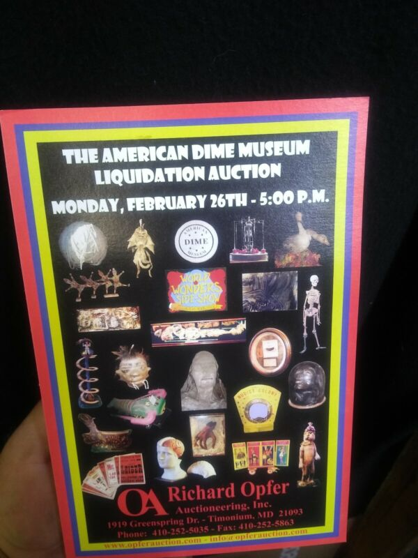 Old American Dime Museum auction Advertising,Odd,CURIO,sideshow gaff,freak, odd