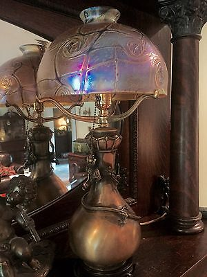 BRONZE TABLE LAMP WITH IRIDESCENT ART GLASS  SHADE - Acorn Pull Etc.