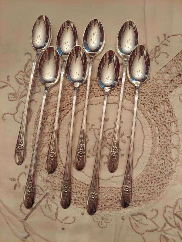 Wm ROGERS Mfg 8 Triumph Silverplate iced tea spoons Excellent Flatware