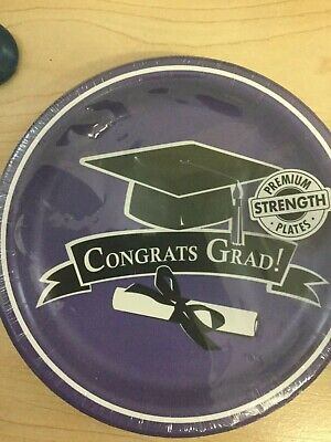 Graduation Dessert Plates Purple 18ct Decoration Favor Party Supplies](Graduation Plates)