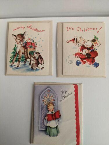 Vintage  Santa Claus,Reindeer and Choir Boy Mini Cards-Standard Greeting-Unused