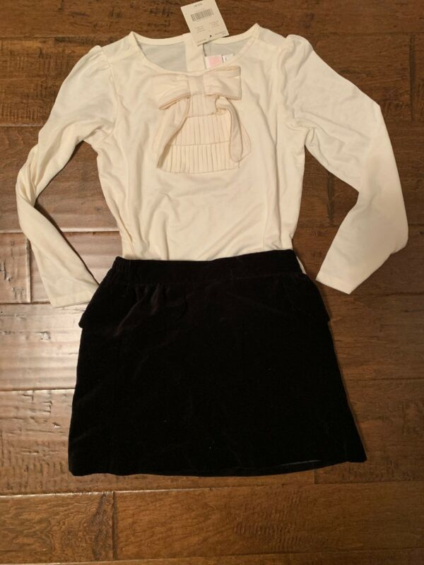Janie And Jack Size 7 Black Velvet Skirt And Top