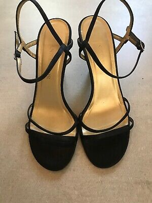 Ann Taylor Black Strappy High Heels Leather Ankle Strap 6.5M Shoes